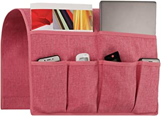 Joywell Sofa Armrest Organizer, Couch Arm Chair Caddy with 6 Pockets for Magazine, Books, TV Remote Control, Cell Phone, iPad (Pink)