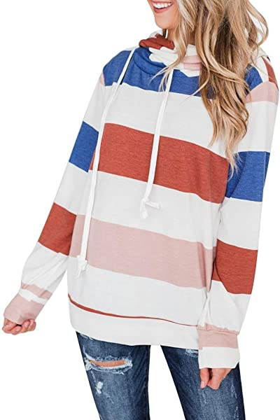 Redacel Women Hoodies Casual Sweatshirt Winter Ladies Loose Striped Print Jumper Pullover Tops