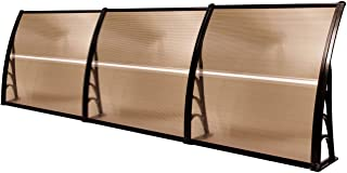 MCombo 40in×120in Window Awning Outdoor Polycarbonate Front Door Patio Cover Garden Canopy 6055-4012 (Dark Brown) (Renewed)