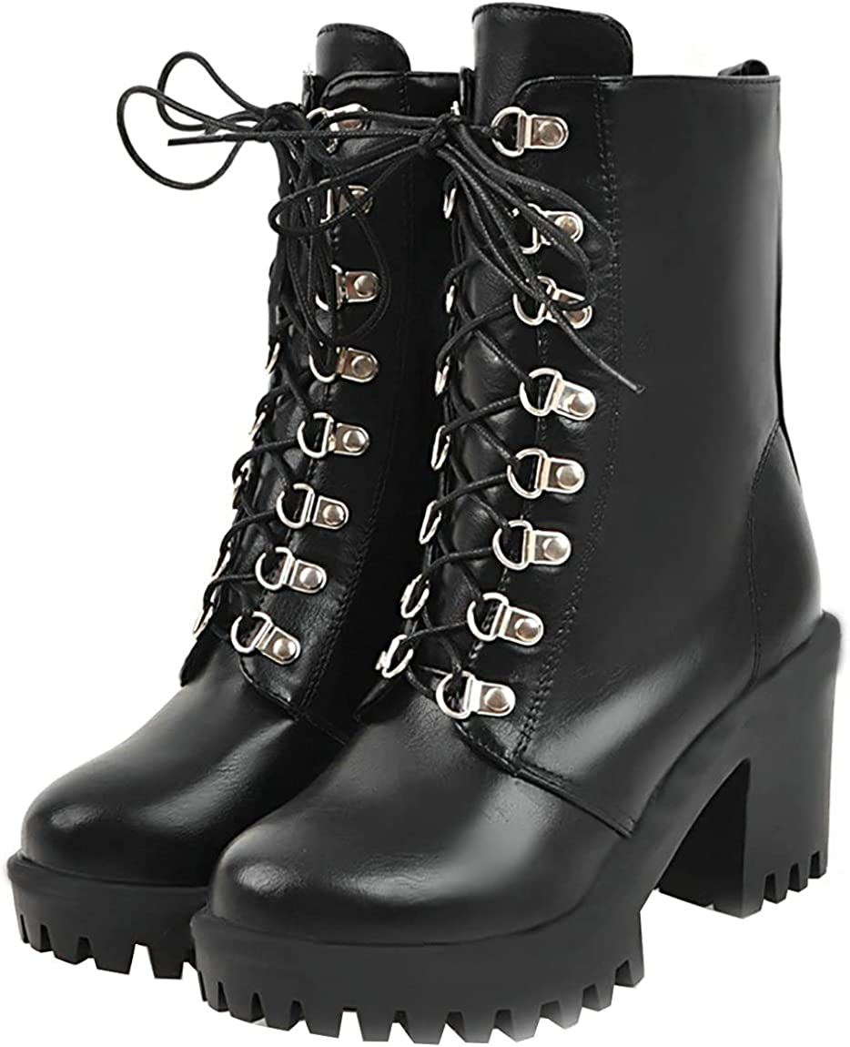 Juleya Womens service Chunky Heels Ankle Boots Thick Lace Platform Up Bo Max 57% OFF