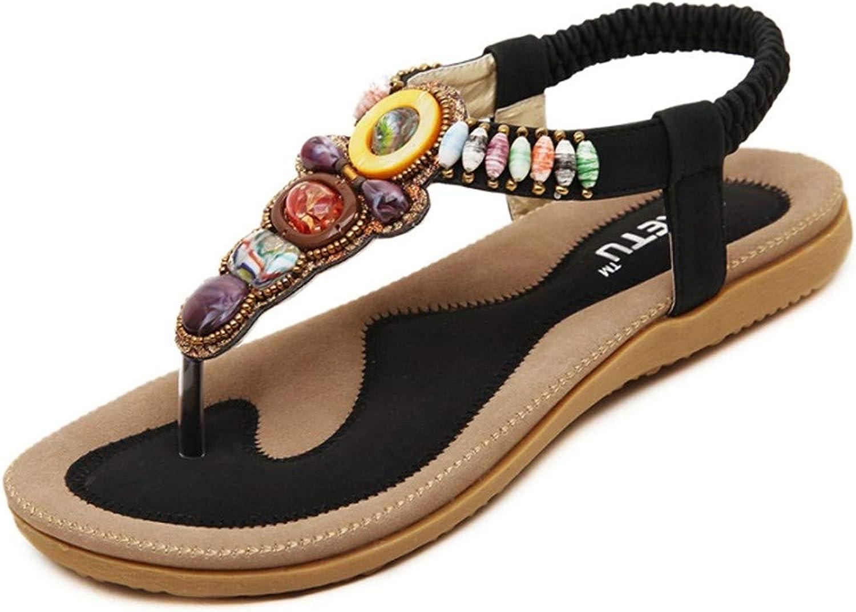 Dun Kung Summer Woman Sandals Bohemia Flat Sandals Beaded Large Size Casual Comfortable Soft