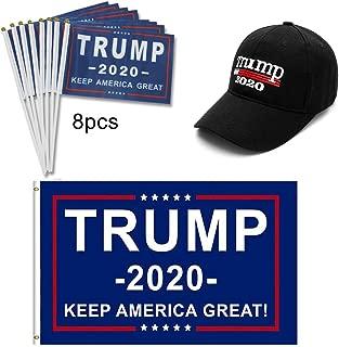 QSUM Donald Trump 2020 Hat and Flag kit, Include 1pcs 3 x 5 Ft Flag & 1pcs Hat & 8pcs Hand Flags
