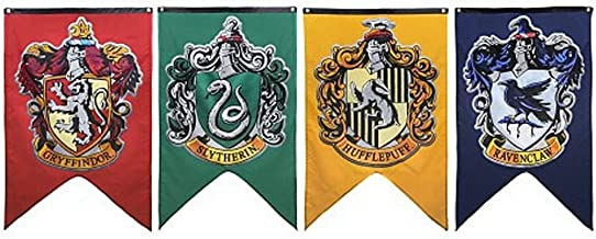Tealn 4pc Set Harry Potter Hogwarts House Wall Banners, Double Layered Indoor Outdoor Party Flag - Gryffindor, Slytherin, Hufflepuff, Ravenclaw
