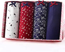 Girls Cotton Underwear Menstrual Period Pants Leakproof Knickers for Teenage Pack of 4,M