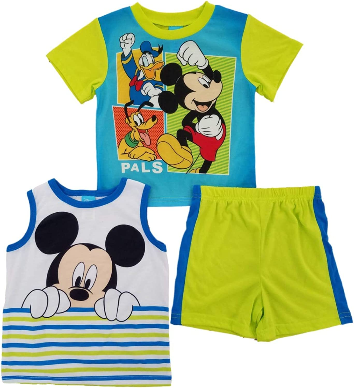 Mickey Mouse Disney's Toddler Boys Pals Tank Top, Tee & Shorts Pajama Set