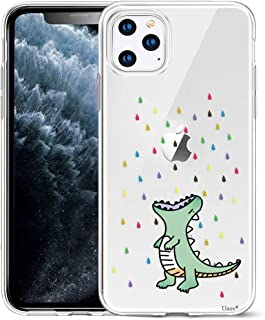 Unov Case Clear with Design for iPhone 11 Pro Max Case Slim Protective Soft TPU Bumper Embossed Pattern 6.5 Inch (Rainbow Dinosaur)