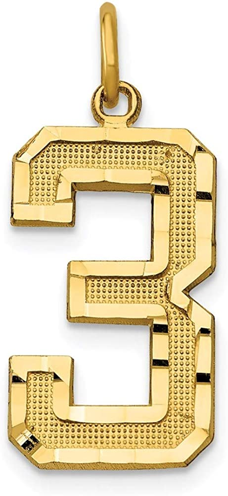 14k Yellow Gold Large Brushed Number 3 Pendant Charm Necklace Component Charms Fine Jewelry For Women Gifts For Her