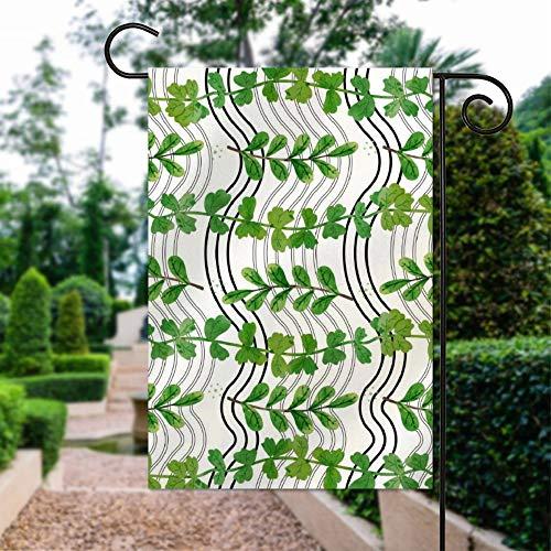 Gartenflagge Baumwolle Hausflagge doppelseitig Willkommen Outdoor Hof Flagge 30,5 x 45,7 cm Tropische grüne Blätter weiß schwarz gestreift