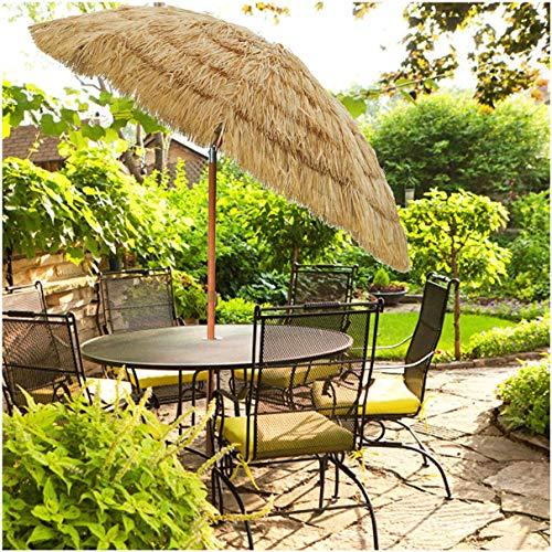 WUKALA Imitación Paraguas de la Paja Tiki,Soporte de Aleación de Aluminio UPF 50+ Paraguas al Aire Libre,para Césped de Playa Jardín Terraza Sombrilla al Aire Libre