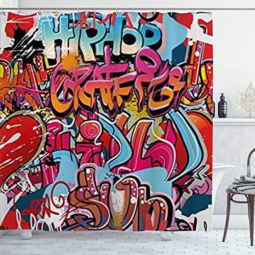 DYCBNESS Duschvorhang,Grafische Hip-Hop-Straßenkultur Harlem York Wall Graffiti Spray Artwork Image,Langhaltig Hochwertig Bad Vorhang Polyester Stoff Wasserdichtes Design,mit Haken 180x180cm