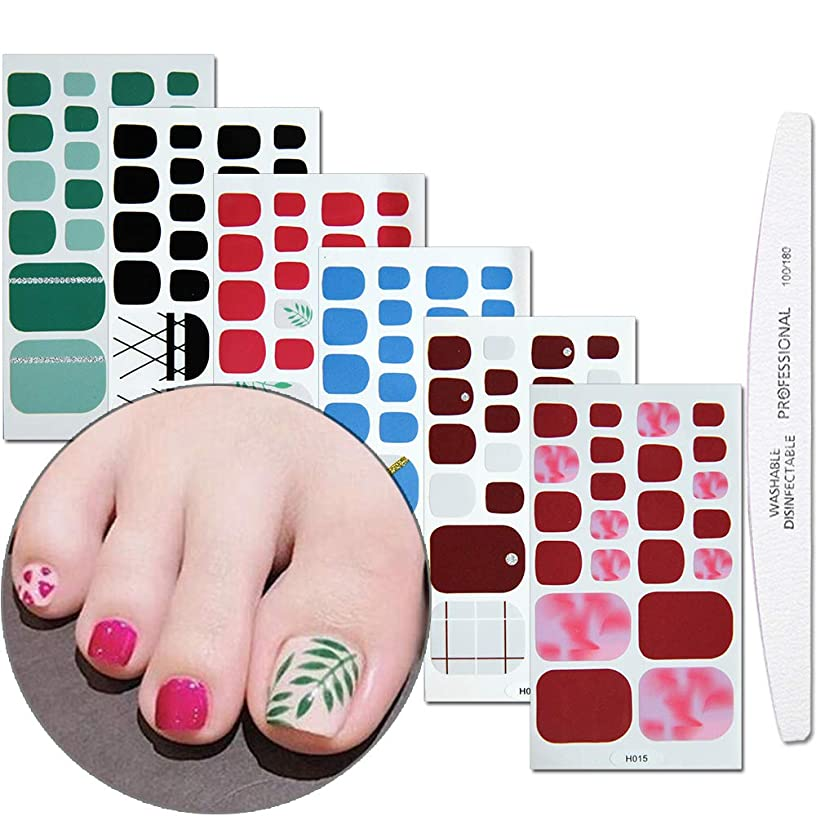 WOKOTO 6 Pieces Full Wraps Toenail Polish Stickers With 1Pcs Nail File Adhesive Nail Decals Strips Glitter Gradient Pure Color Manicure Set For Girls