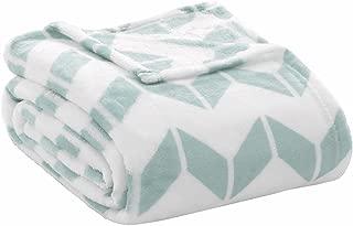 Intelligent Design Chevron Luxury Oversized Plush Throw Aqua 60x70 Chevron Premium Soft Cozy Microlight Fabric For Bed, Couch or Sofa