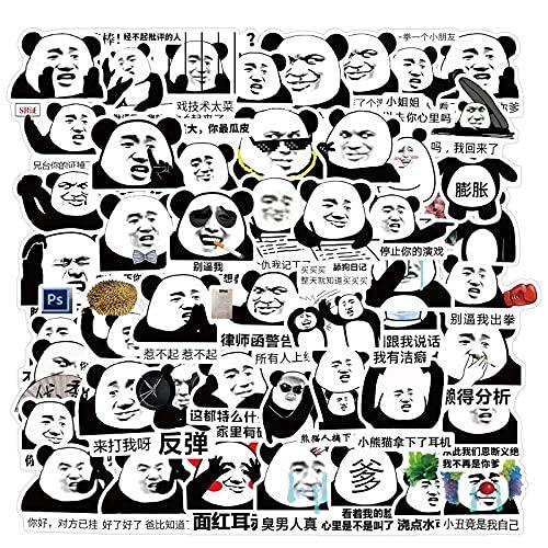 XXCKA 50 Uds Panda Head Emoji Graffiti Pegatina Equipaje Decorativo Motocicleta Trolley Funda portátil Impermeable DIY Pegatina