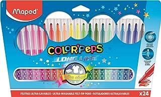 Maped - Feutres Long Life - 24 Feutres de Coloriage Ultra-lavables et Longue Durée - Pointe Moyenne Bloquée - Couleurs viv...