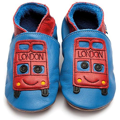 Inch Blue Mädchen/Jungen Schuhe für den Kinderwagen aus luxuriösem Leder - Weiche Sohle - Bus Blau