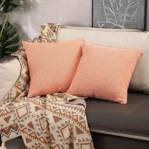 Basic Model 2 fundas de cojín cuadradas con diseño geométrico para sofá, dormitorio, decoración del hogar, 40 x 40 cm