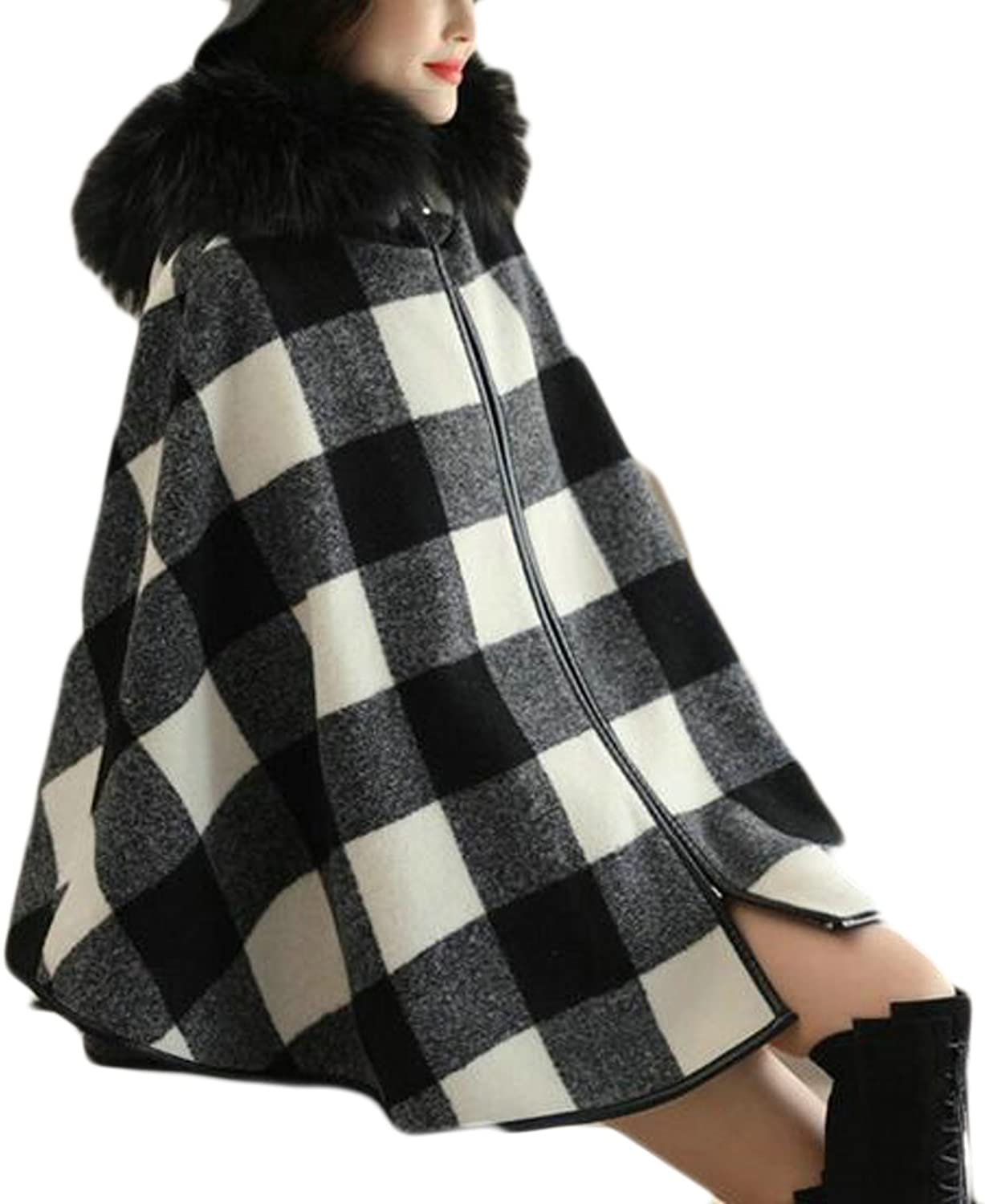 GAGA Womens Wool Blend Faux Fur Plaid Hooded Pea Jacket Poncho