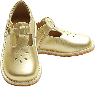 Toddler Little Girl Gold T Strap Buckle Flower Cut Out Dress Shoe
