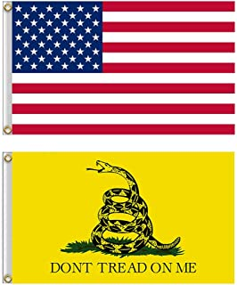 Shmbada American US Flag and Gadsden Don't Tread on Me Flag Kit with Brass Grommets, Premium Polyester Double Stitched Vivid Color Anti Fading, Outdoor Yard Decor 3x5 Ft, 2 Pack