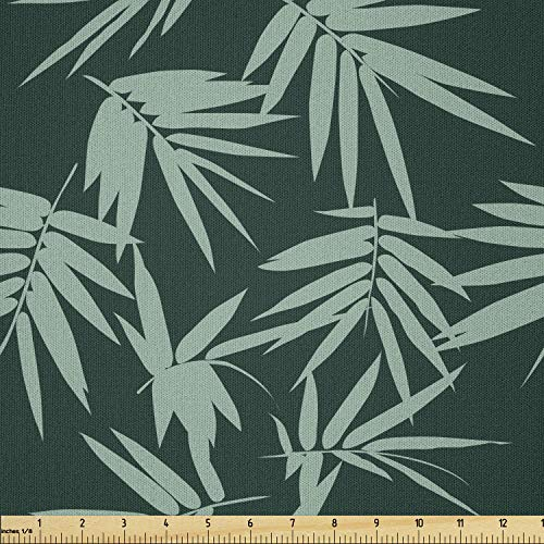 Lunarable Green Oriental Fabric by The Yard, Garden Art Scattered Silhouettes of Bamboo Leaf Ornament, Microfiber Fabric for Arts and Crafts Textiles & Decor, 1 Yard, Almond Green
