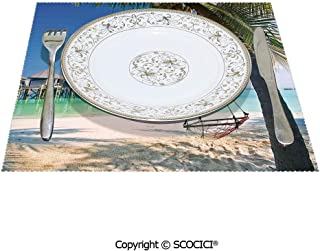 SCOCICI Non-Slip Large Scale Table Mat Placemat 1 Piece Hammock Under Palm Leaves in Golden Heaven Beach in Paradise Caribbean Peace Best Decoration and Protection to Your Desks 12