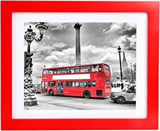 BOJIN 8x10 Red Picture Frames Matted 6x8 Photo Frame with Mat Wooden Table Top