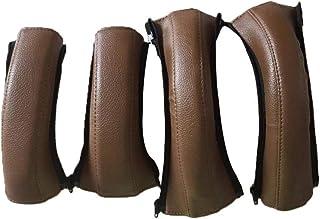 Barnvagn armstöd PU-läder skyddsfodral med dragkedja handtag skydd för styre tillbehör, läderfodral, 4 st/förpackning. Brun