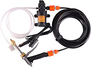 Fionashrek Portable 12V High Pressure Washer 145PSI Car Electric Washer Pump Washer Kit with 26.24 Inch PVC Pressure Washer Hose for Home, Garden, Vehicles, Projects (Short-Mouth)