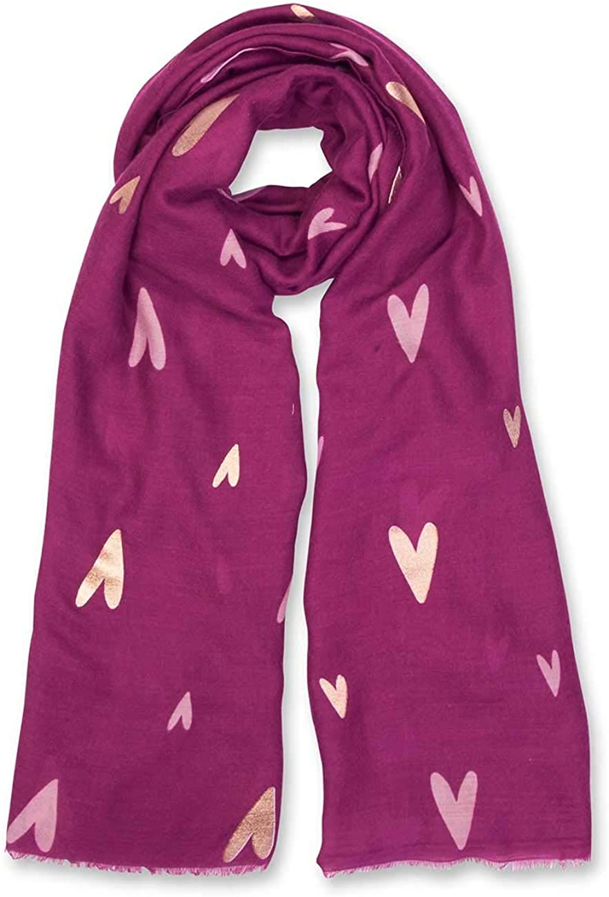 Katie Loxton Heart Print Womens One Size Fits Most Metallic Fashion Sentiment Scarf in Raspberry Red Radiance