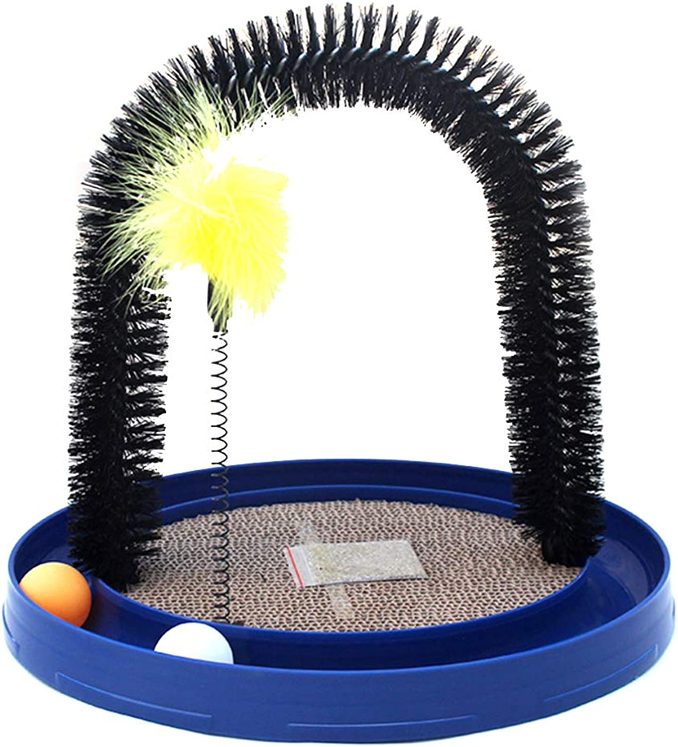 Cat Toy Funny Cat Carousel Cat MultiFunction Hair Dryer Disc Massage Cat Scratch Board,bluee