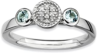 Solid 925 Sterling Silver Stackable Expressions Dbl Round Simulated Aquamarine and Diamond Ring (2.3mm)