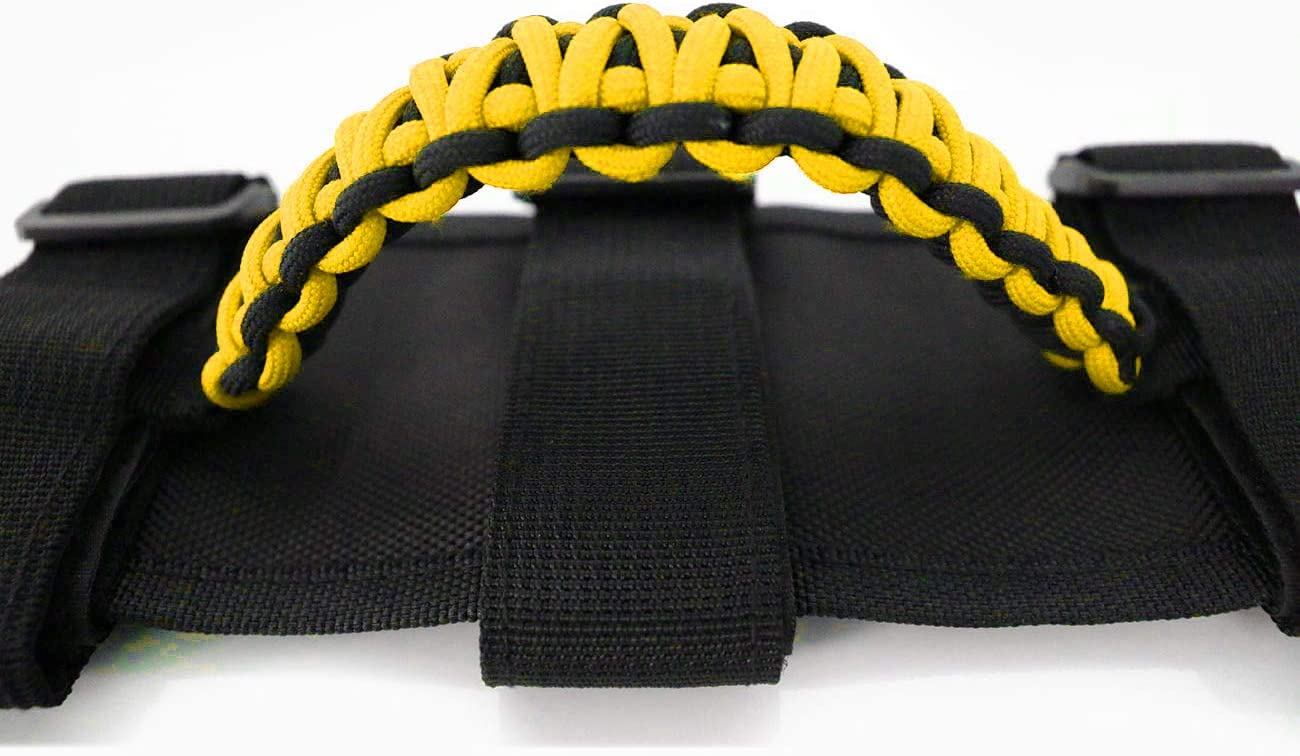 2 Pcs Roll Bar Grip Handles Paracord Grab Handles for Jeep Wrangler YJ CJ TJ JK JKU JL JLU Jeep Grip Handles with 3 Straps and Woven Handle Yellow Style