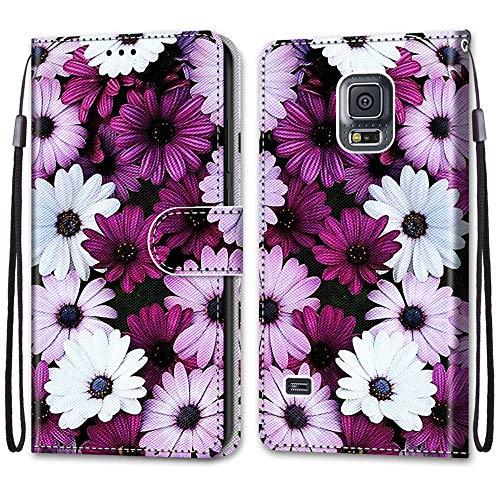 Nadoli Handyhülle Leder für Samsung Galaxy S5,Bunt Bemalt Elegant Gänseblümchen Trageschlaufe Kartenfach Magnet Ständer Schutzhülle Brieftasche Ledertasche Tasche Etui