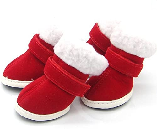 discount Mallofusa White online Plush Red Faux Suede outlet sale Pet Shoes for Dogs Cats Puppy Boots Christmas Size 3 outlet sale