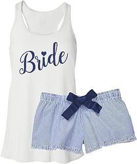 Bride Pajama Short Set - Navy Seersucker
