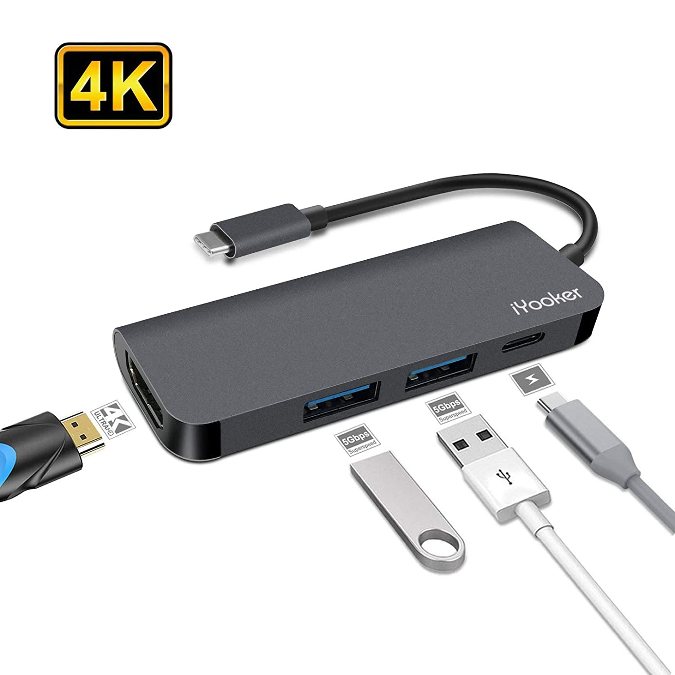 USB C Hub, iYooker 4 in 1 Type C Hub to HDMI 4K Video Convertor with 2 USB3.0 and PD Charging for Computers with USB C Port, DELL XPS, Chromebook and more Devices