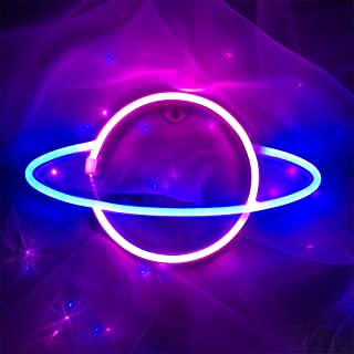 ENUOLI Planet Neon Lights LED Planet Modeling Signs USB or Battery Operated Lamp Shop Window Wall Hanging Neon Sign Light ...