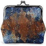 Portafoglio con pochette portamonete con portamonete floreale classico in pelle blu intonaco