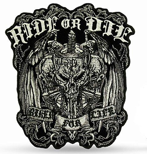 Daywalker Bikestuff Biker Back Patch Ride of de BIG Patch zwart grijs
