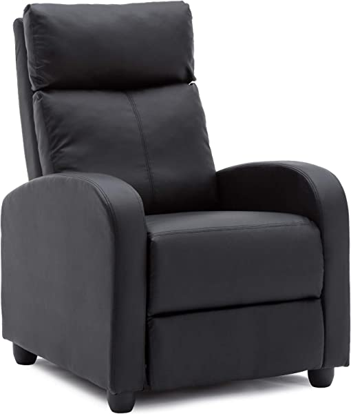 NOBPEINT Recliner Chair Black PU Leather Living Room Recliner Modern Recliner Sofa Seat Home Theater
