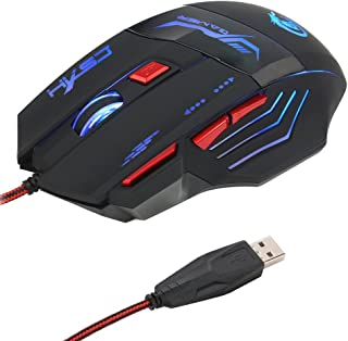 HXSJ H100 USB Wired Optical Game Mouse 5500 DPI Adjustable 7 Buttons 7 Colors LED Backlight Gaming Mouse