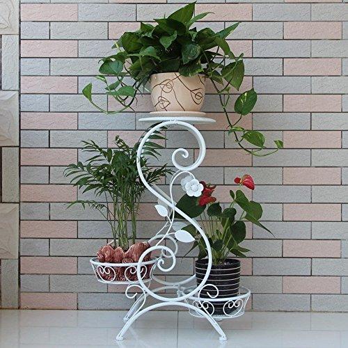 Global- Style européen Couleur de cuivre blanc Trois couches Étagère à fleurs Fer Porte-fleurs, balcon Salle de séjour Couloir Jardin de la chambre Porte-pot à fleurs ( Couleur : Blanc , taille : 50*24*68cm )