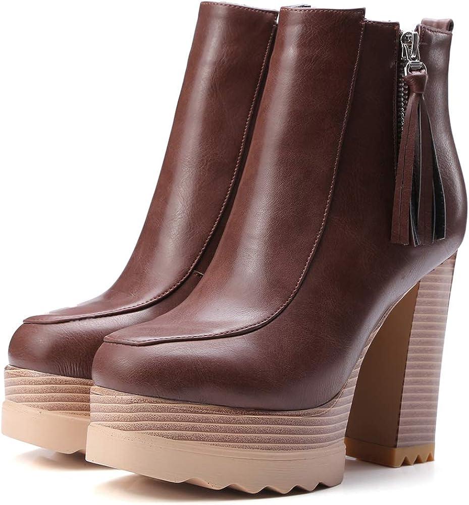 Vimisaoi Women's Max 73% OFF Vintage Platform Boots Zip Heel High Block Ank Luxury goods