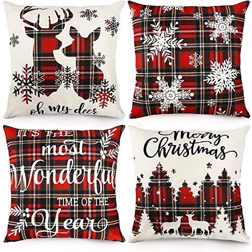 LONLYTISA - Juego de 4 fundas de almohada navideñas de 45 x 45 cm, diseño de cuadros escoceses de tartán de Navidad, funda de cojín de algodón y lino para decoración del hogar