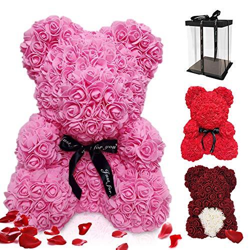ASANMU Oso de Rosas, Oso de Peluche Rosa Regalo de Oso Rosa Creativo con Caja Oso de Flores Artificiales Oso Rosa Regalos para San Valentín/Cumpleaños/Aniversario Regalo para Mamá/Madres/Mujer(Rosado)