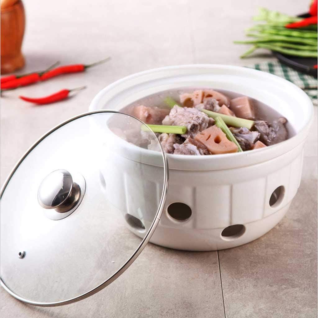 HLJ Poêle Alcool à Sec Pot Pot Solide Liquide Pot Petit Alcool Maison Hot Pot en céramique Casserole 1.22L (Color : White) White