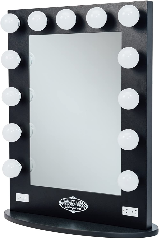 Broadway Lighted Vanity Mirror - Gloss Black