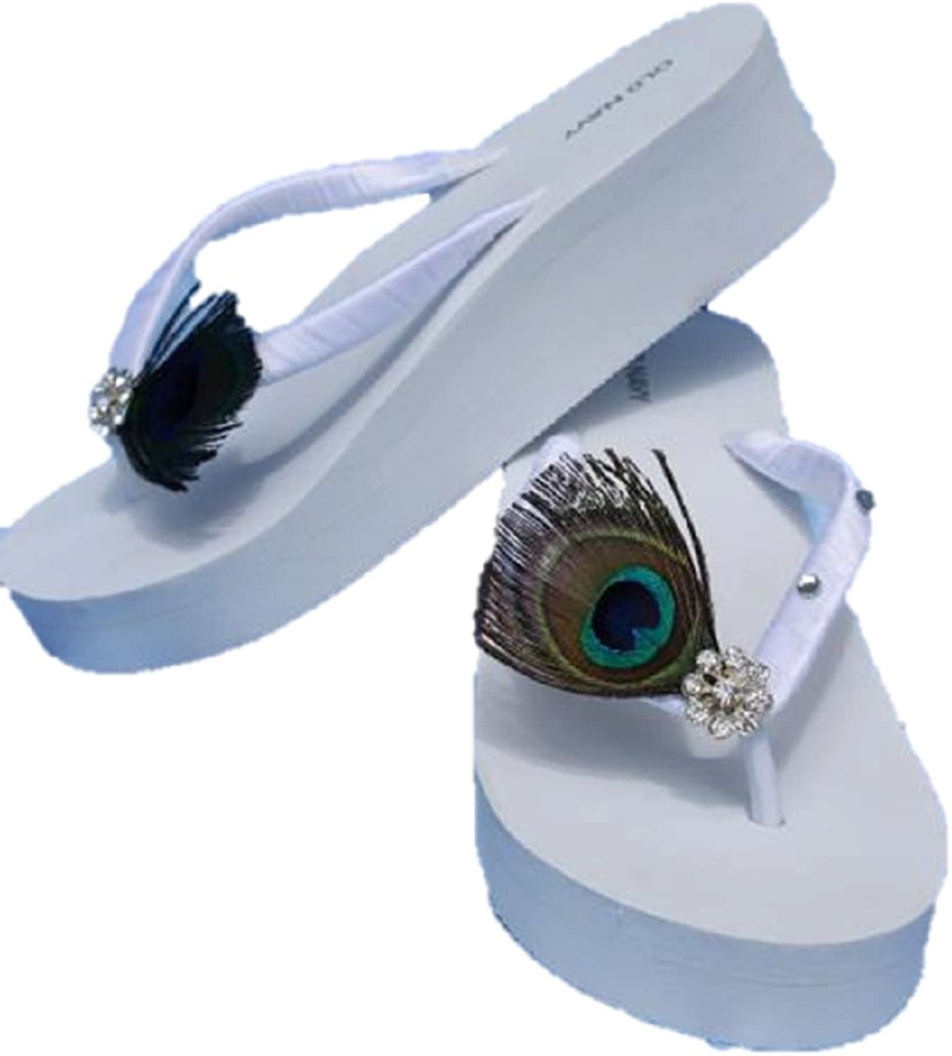 A Bidda Bling White Wedge Bridal Flip Flop Sandals with Peacock Feathers and Crystals