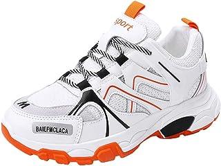 Zapatillas de Deporte de Mujer Colores Mezclados con Cordones Zapatillas de Correr Suela Gruesa Plataformas Antideslizante...