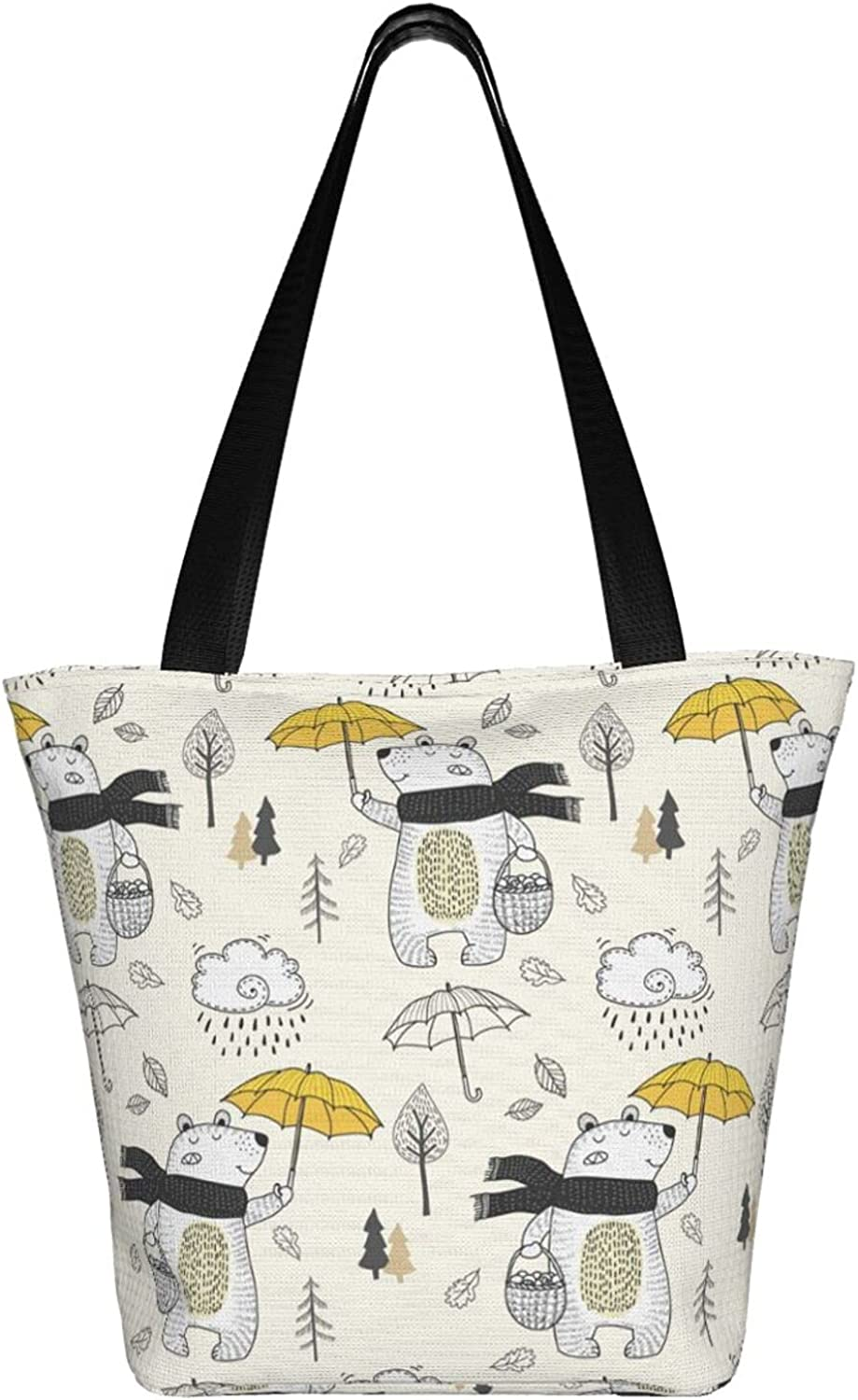 Cenken Large Tote Easy-to-use Bag Ultra-Cheap Deals With Umbrella Bear Print Lovely Women